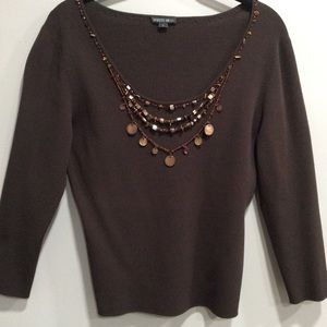 Lafayette 148 New York Brown Embellished Sweater